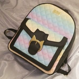 Betsey Johnson Rainbow Kitty Clasp Backpack